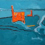 Blue Hills (2009) - 76cm x 76cm -acrylic on canvas - Modern Art by British Artist Chris Billington