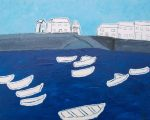 Boats & Ropes St Michaels Mount (2008) - 20in x 16in - acrylic on board - Modern Art by British Artist Chris Billington