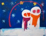 Cosmic Snowmen, 100 x 80cm acrylic on canvas, Modern Art by British Artist Chris Billington