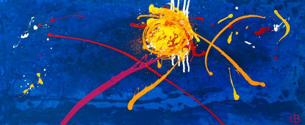 Fireworks over Falmouth Bay (2010) 120 X 50 acrylic on canvas