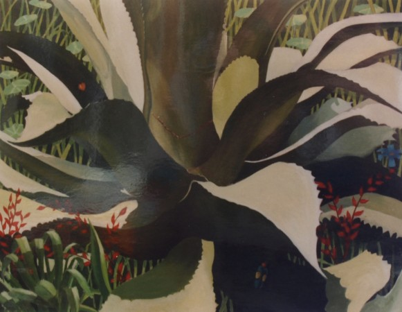 Cecil Riley - Agave and Insects (1995) - 36in x 28in - oil on board