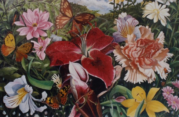 Flowers and Butterflies oil on board