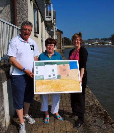 "Bernard Lee, Alison Lee, Debbie Henshaw with ""Quay Cottages, St.Ives"" ~ Chris Billington"