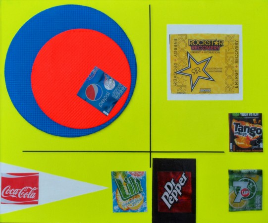 """7 Deadly Tins"" (2012) ~ 24in x 20in ~ mixed & recycled media on ply panel ~ Chris Billington"