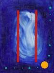 Double Slit Parallel Worlds ~ 60cm x 80cm ~ mixed media on canvas ~ Chris Billington