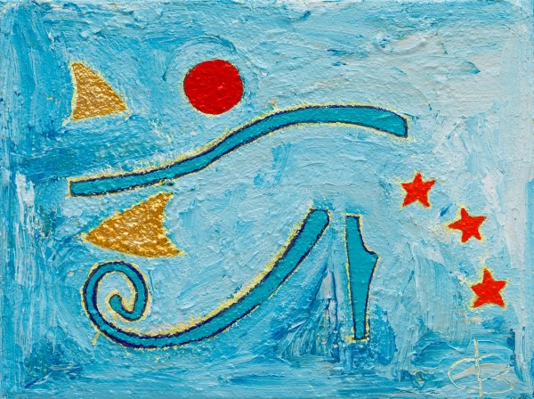 Fractions of Horus ~ 30cm x 40cm ~ mixed media on canvas ~ Chris Billington