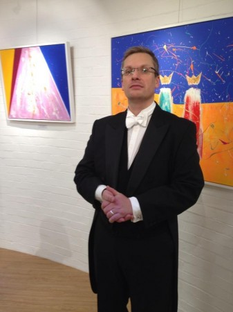 Conductor Matthew Boyden. pictured with We Three Cosmic Kings at The Blake Gallery