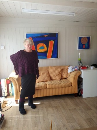 Mary Oram at the studio of British Modern Artist Chris Billington