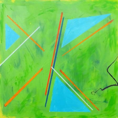 'Teenage Kicks' (2014) - acrylic on wood panel -12in x 12in - 'Punk ~ The Transatlantic Paintings' - Chris Billington