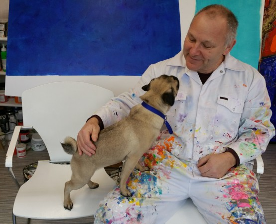 The Painter and his Pug ~ Chris Billington and Coco ~ Cornwall Artlab 2015
