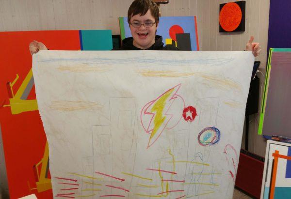 Superhero Charlie Lyne art in the studio with Chris Billington