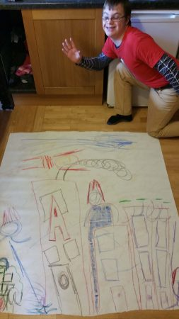 Superhero Charlie Lyne finished drawing at home - Chris Billington