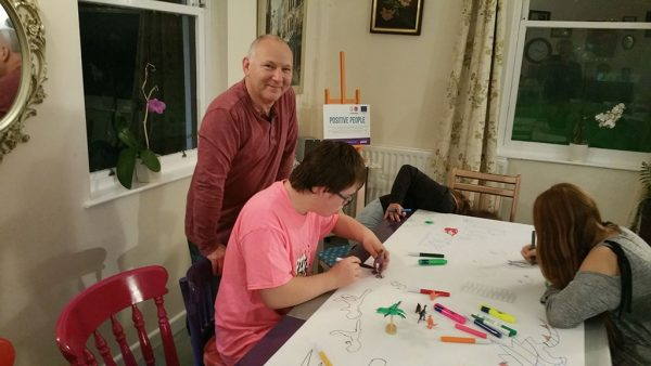 Art mentoring at the Chaos Youth Club, Cafe Chaos - Cornwall Down's Syndrome Support Group - Chris Billington