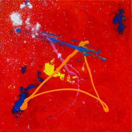 Fire of Transformation, 2012 acrylic on canvas, 50 x 50cm, Modern Art by British Artist Chris Billington - Sold Art