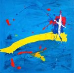 Flight 1549, 2011 acrylic on canvas, 36 x 36in - Modern Art by British Artist Chris Billington