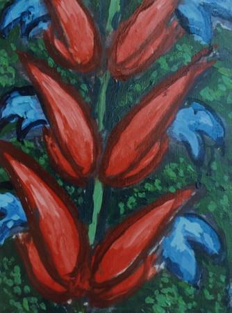 Cecil Riley - Plantscape R-B (2010)- 14in x 16in - oil on paper