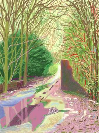 David Hockney RA - The Arrival of Spring in Woldgate, East Yorkshire in 2011 - 2 January Ipad Drawing on paper