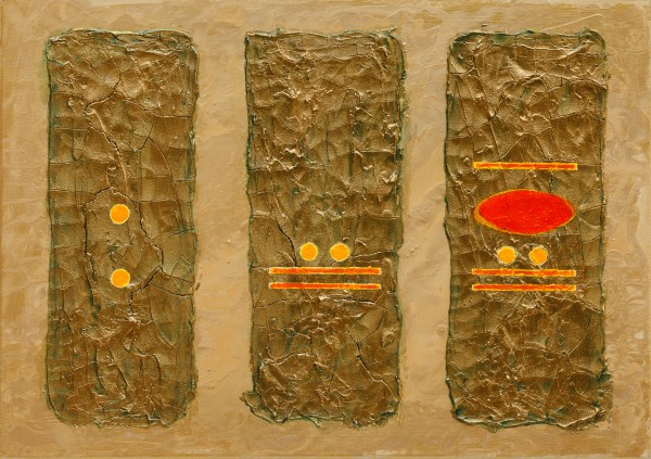 The World of The 5th Sun ~ 70cm x 50cm ~ mixed media on canvas ~ Chris Billington
