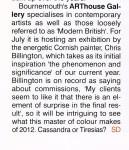 Chris Billington ~ '2012 ~ Signs, Secrets & Symbols' ~ Galleries Magazine