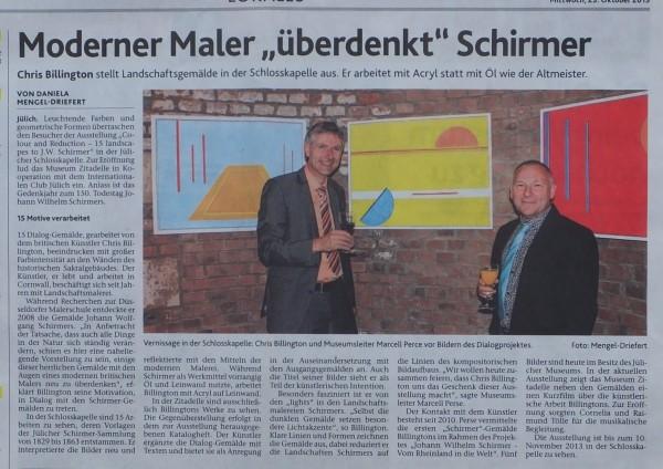Chris Billington  Art Reviews by German Press