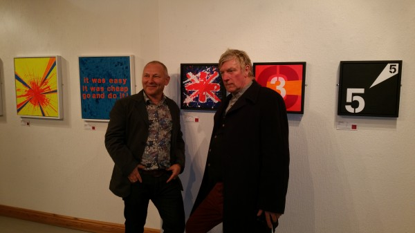 Chris Billington and Pete Griffiths of 77 band The Spitfire Boys ~ 'Punk - The Transatlantic Paintings' exhibition, The Gallery, Liverpool
