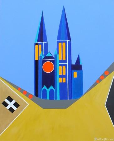 Three Spires Under Blue Skies (2014) ~ 32in x 40in ~ acrylic on canvas ~ Chris Billington ~ Modern Art