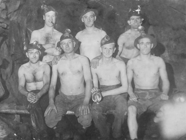 Eddie Date and fellow miners 1600ft underground East Pool Mine 1934 - Chris Billington