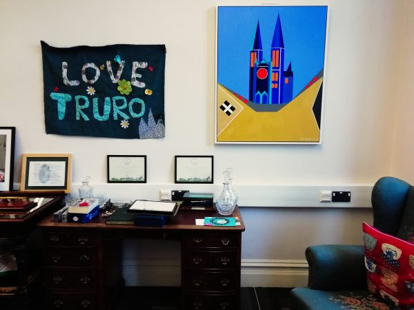 Three Spires Under Blue Skies - Truro City Mayor's Parlour - Chris Billington Modern Art For Truro City 2018