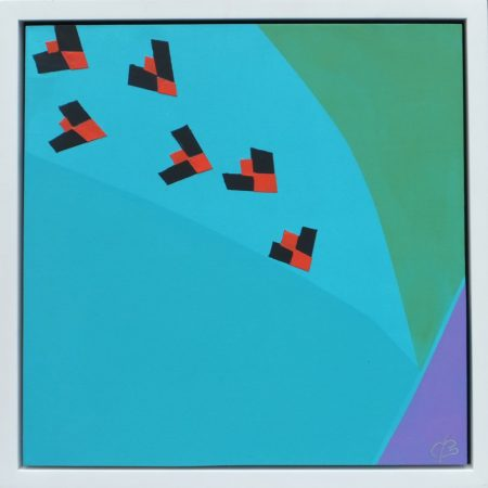 Six Choughs Over Kynance, 2015,  12 x 12in - Raised £600 for SourceFM 2018 Fundraiser -Chris Billington.JPG